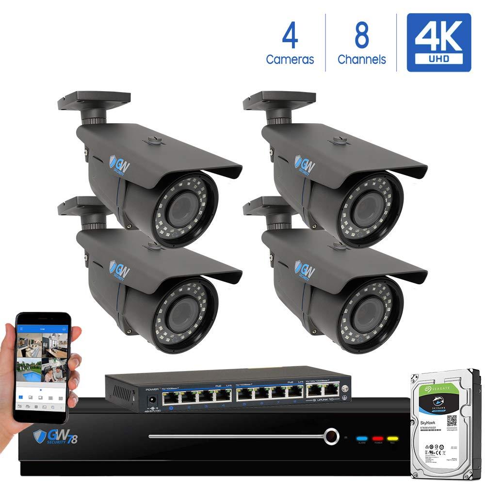 GW 8 Channel 4K NVR 8 Megapixel H.265 Video PoE Security Camera System – Four 8MP 2160P Weatherproof 2.7-13.5mm Varifocal UltraHD 4K IP Bullet Cameras, 196ft IR Night Vision, Pre-Installed 2TB HDD