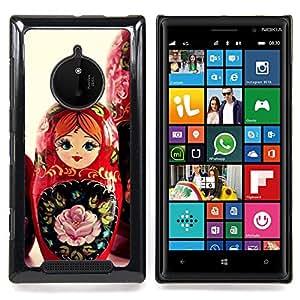 For Nokia Lumia 830 - Matryoshka Doll Russian Art Native Red Girl /Modelo de la piel protectora de la cubierta del caso/ - Super Marley Shop -
