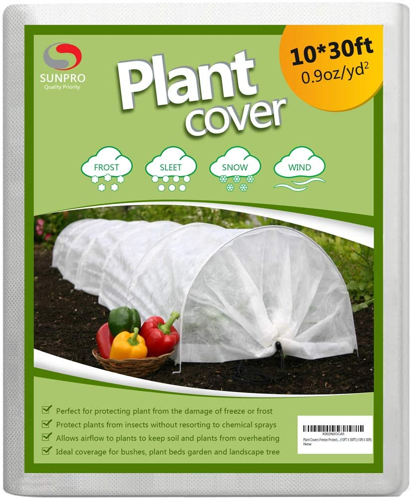 SUNPRO Plant Covers, 0.9oz 10Ft x 30Ft Reusable Floating Row Cover, Freeze Protection Plant Blankets for Cold Weather (Support Hoops Not Included)