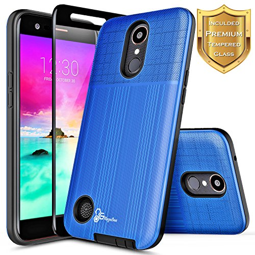LG K30 Case, LG Premier Pro/Xpression Plus/Phoenix Plus /K10 2018 /Harmony 2 w/[Full Cover Tempered Glass Screen Protector], NageBee Premium Brushed Heavy Duty Defender Shockproof Case -Blue