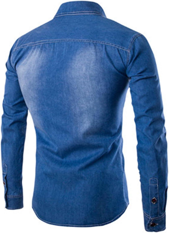 Nidicus Men Everyday Casual Western Long Sleeve Denim Button Down Shirt