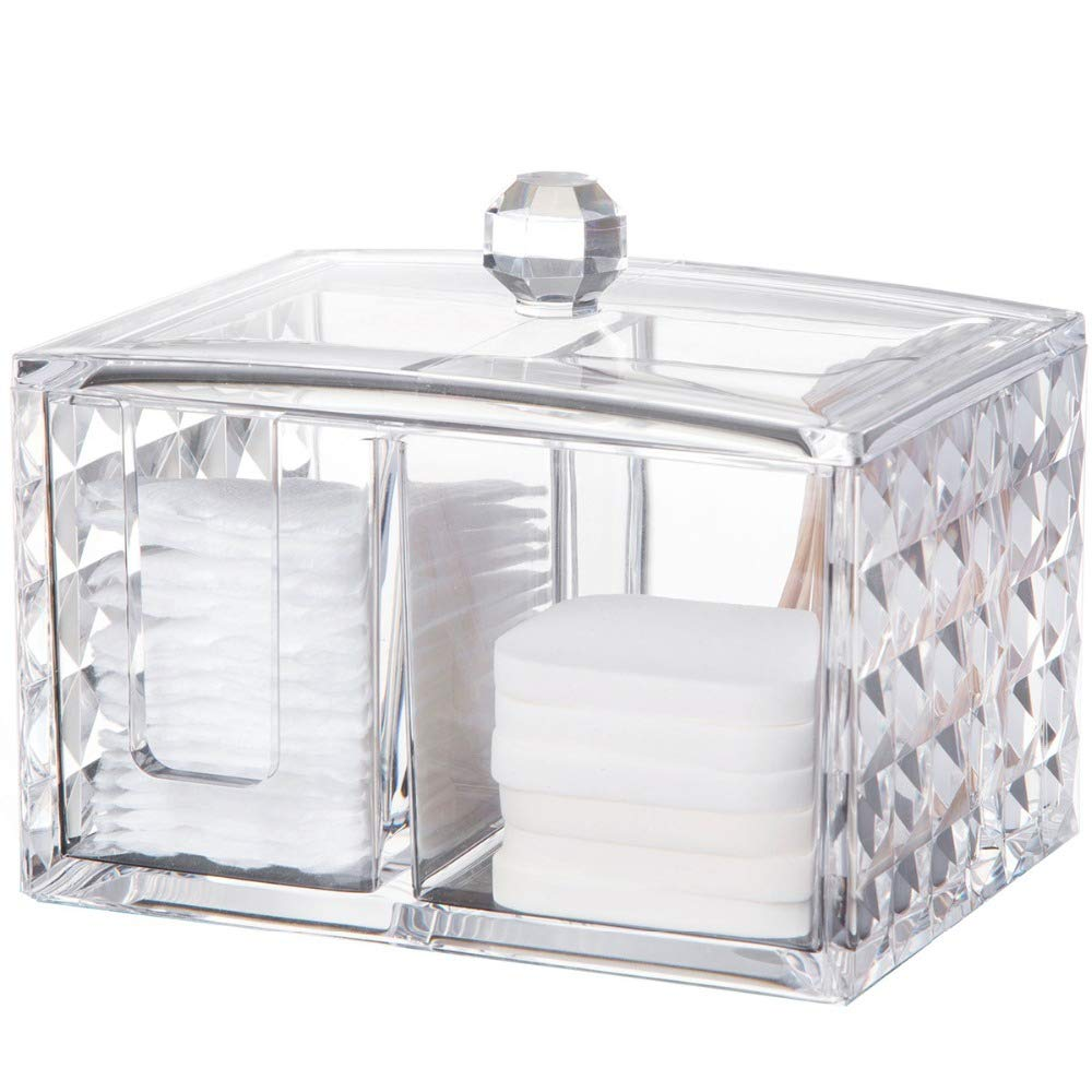 ZPAAZZZZ Cosmetic Storage Box Desktop Clear Acrylic Makeup Storage Drawers Jewelry Organizer Make Up Brush Cotton Swab Case Container