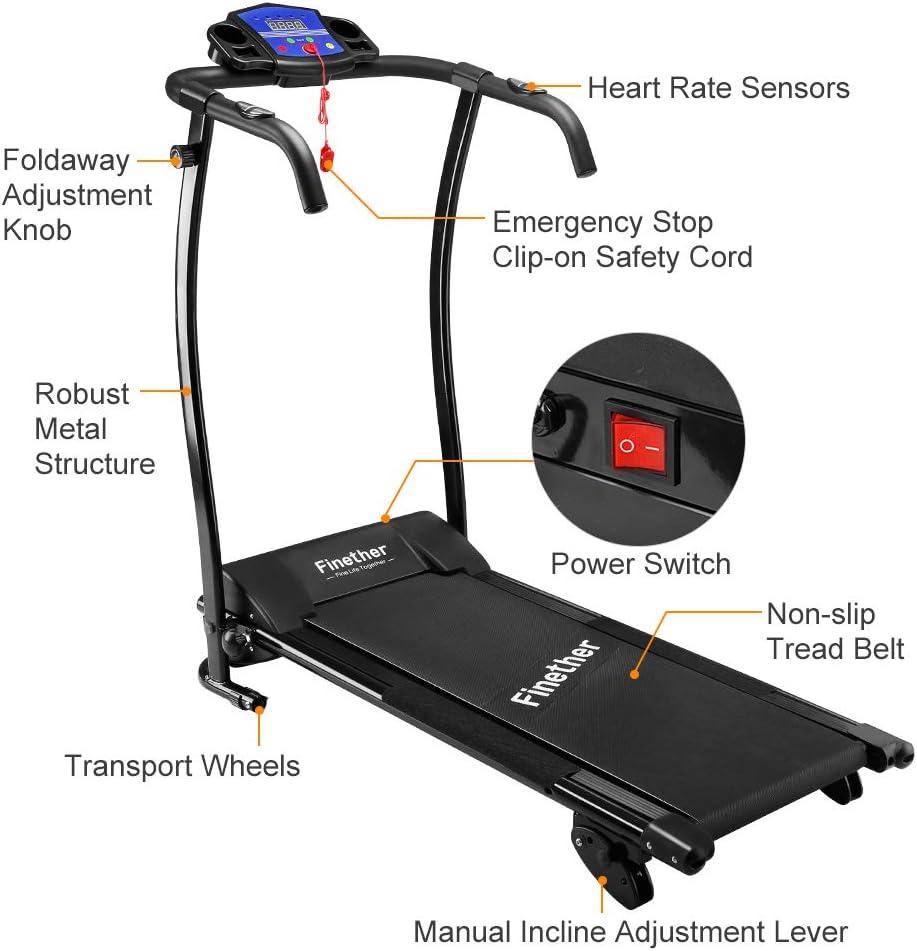 Finether Máquinas para correr:Cinta de correr eléctrica ...
