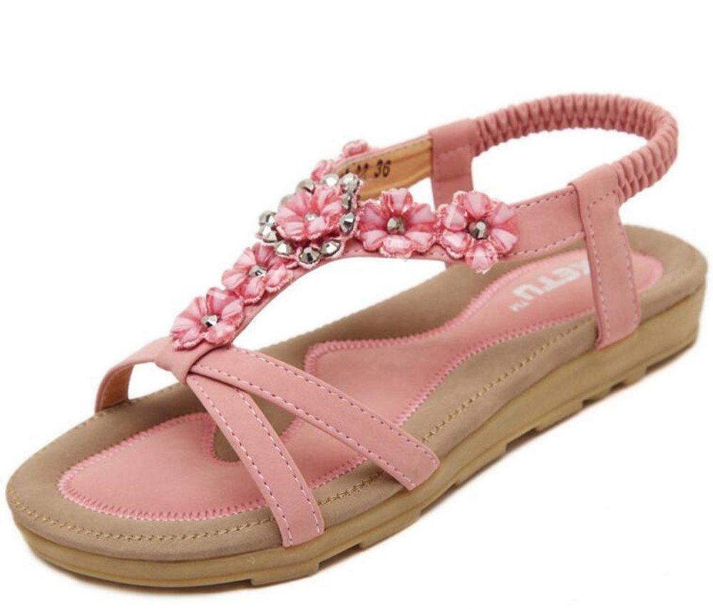 Holiday Women Girls Summer Beach Rhinestone Sandals Beads T-Strap Flip Flop Flats Slip on Thong Refreshing Shoes (Pink Floral/Rhinestone-1, 9 B(M) US/40EU)