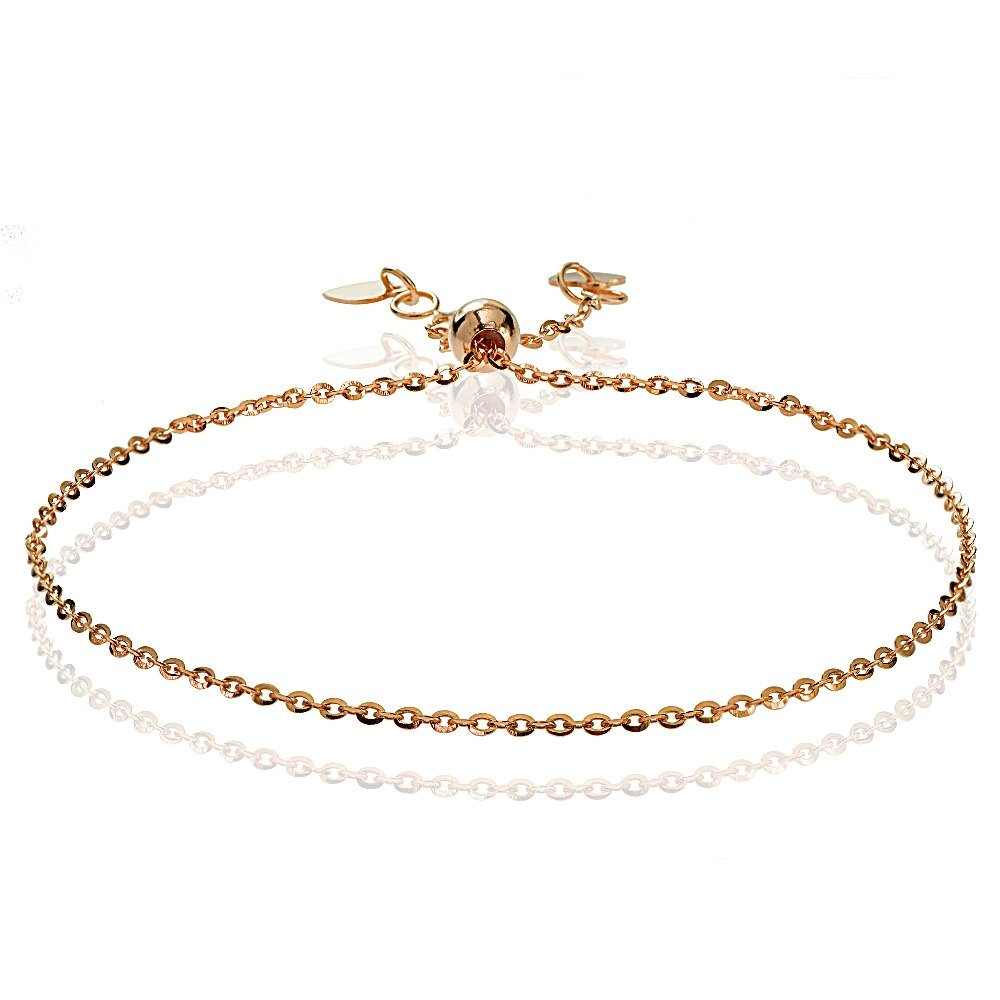 Bria Lou 14k Rose Gold 1.4mm Italian Diamond-Cut Cable Adjustable Chain Bracelet, 7-9 Inches