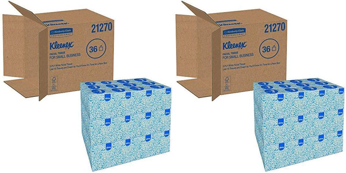 Kleenex NBDJ21270CT Boutique White Facial Tissue, 2-Ply, Pop-Up Box, 95 per Box 2 Cases