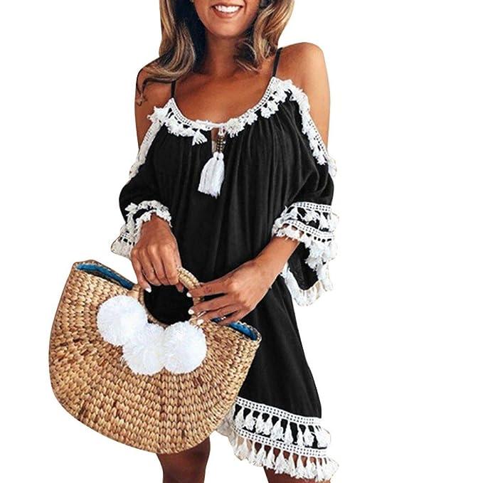 2d976e904558 Longra Damen Schulterfrei Sommerkleid Strandkleider Spaghetti Strap Tunika  Minikleid Bohemian Kleider mit Quasten Damen Vintage Strandtunika