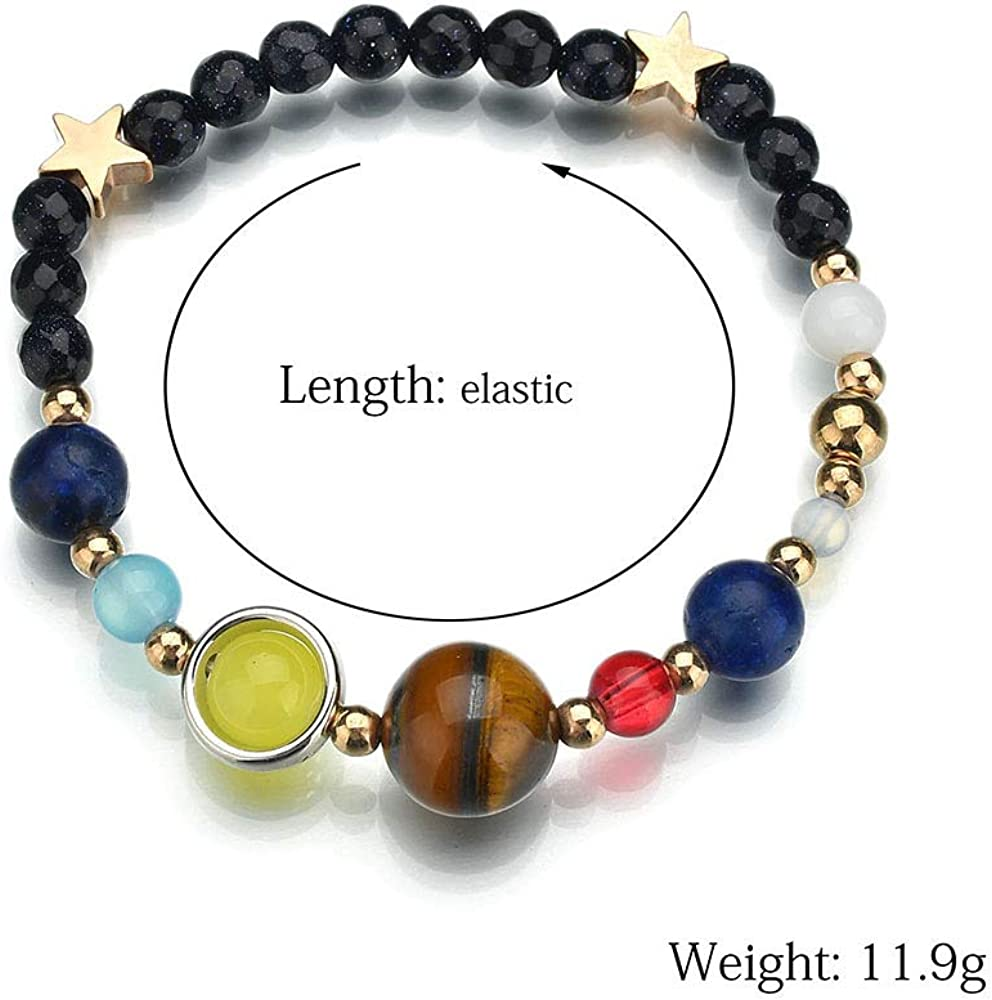 Women /& Men Gift Solar System Eight Planets Of The Universe Galaxy Star Bracelet