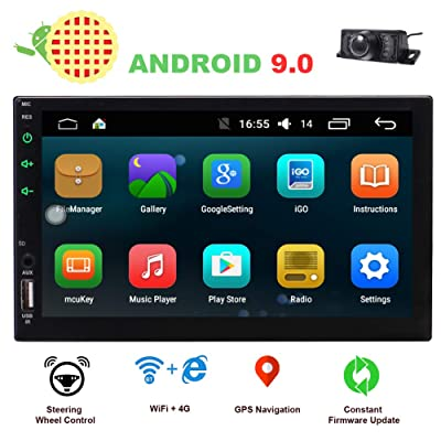 EINCAR 2 Din Car Stereo Touch Screen Car Radio Bluetooth Double Din Android 9.0 Car Player Head Unit GPS Navigation FM/AM RDS Autoradio Video AUX WiFi Mirrorlink Remote Control Rear Camera: Automotive