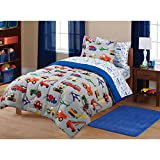 7 Piece Boys Multi Color Twin Transportation Themed Comforter Set With Sheets, Planes Tractors Cars Fire Trucks Red Blue Train Vehicles Printed, Reversible White Navy Printed Kids Bedding, Polyester