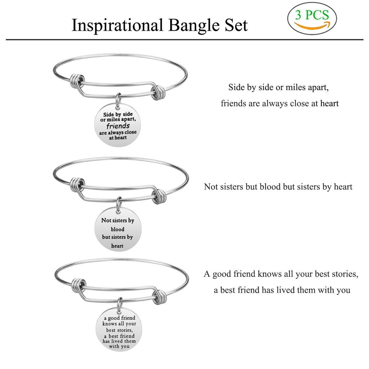 iJuqi Best Friend Gift Charm Bracelet - 3 PCS Stainless Steel ...