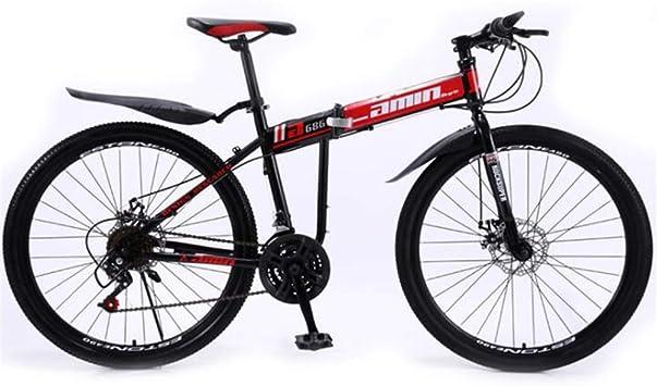 WJSW Bicicleta de montaña Plegable Todoterreno, Rueda de 26 Pulgadas Bicicleta de Carretera de Ciudad portátil para Hombres (Color: Rojo, tamaño: 21 velocidades): Amazon.es: Deportes y aire libre