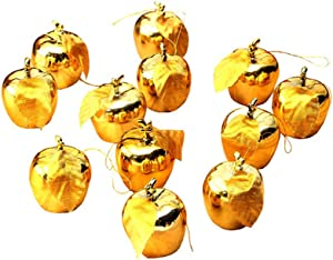 Vpang 12 Pcs Christmas Tree Pendants Xmas Apple Hanging Decorations Ornaments Baubles for Festival Party Wedding Ornaments (Gold)
