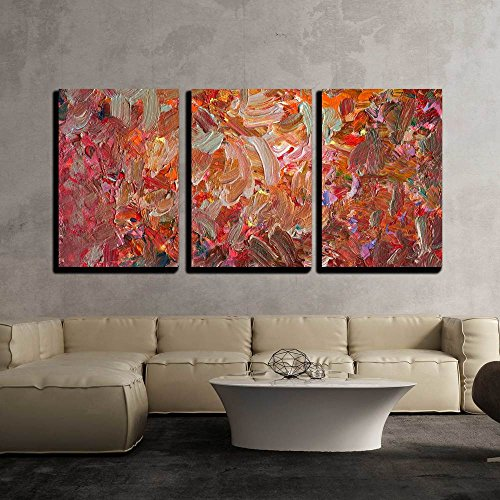 wall26 - 3 Piece Canvas Wall Art - Analog Painted Background Texture - Brushstrokes - Modern Home Decor Stretched and Framed Ready to Hang - 16''x24''x3 Panels by wall26