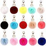 Kissral15 Pcs Llaveros de Pompon, 14 cm Pompones de Colores Llavero para Bolso, Mochila, Teléfono móvil, Llavero de…