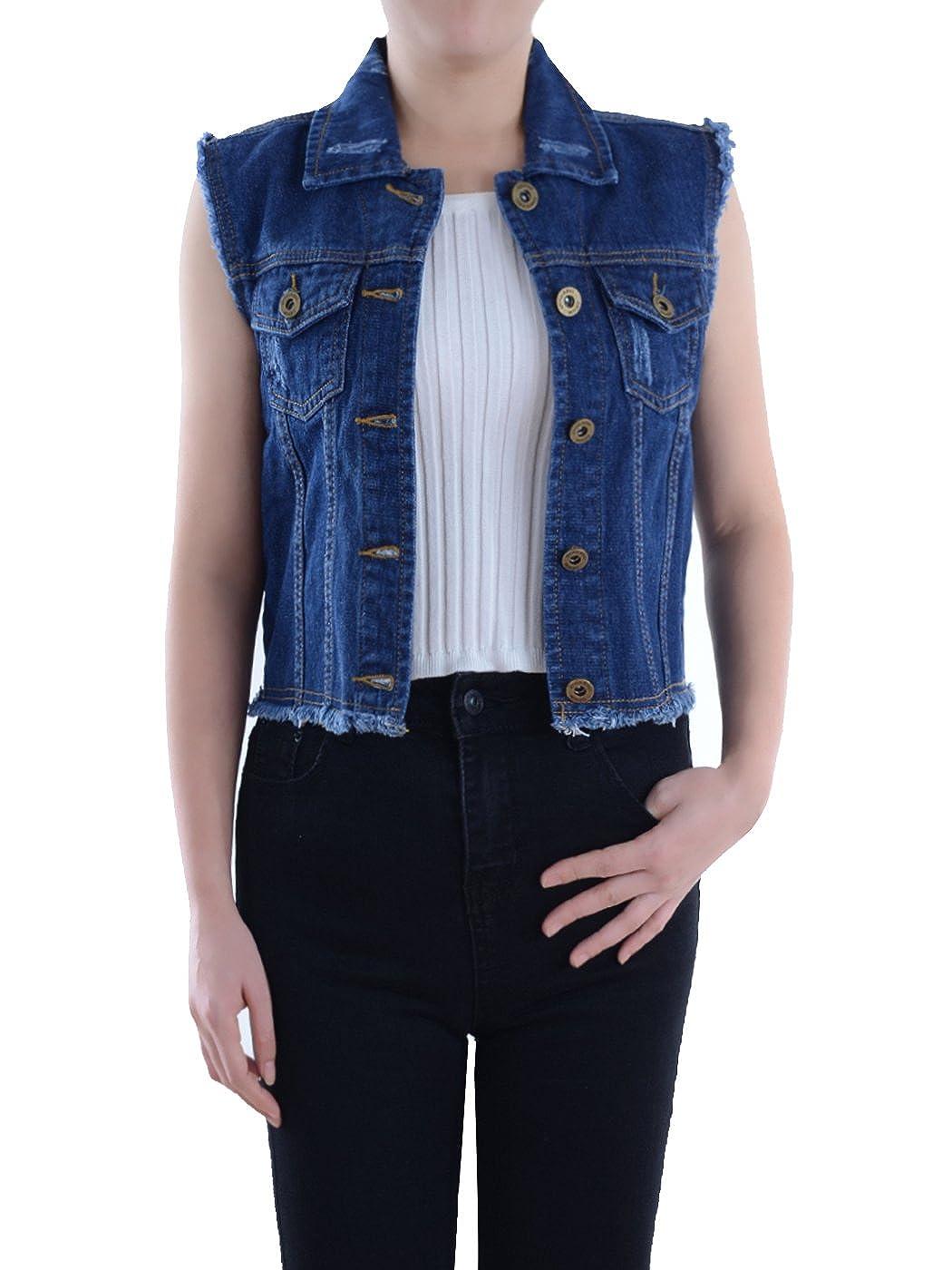 Anna-Kaci Womens Distressed Denim Button Up Sleeveless Crop Vest Y2205IND-LFBA