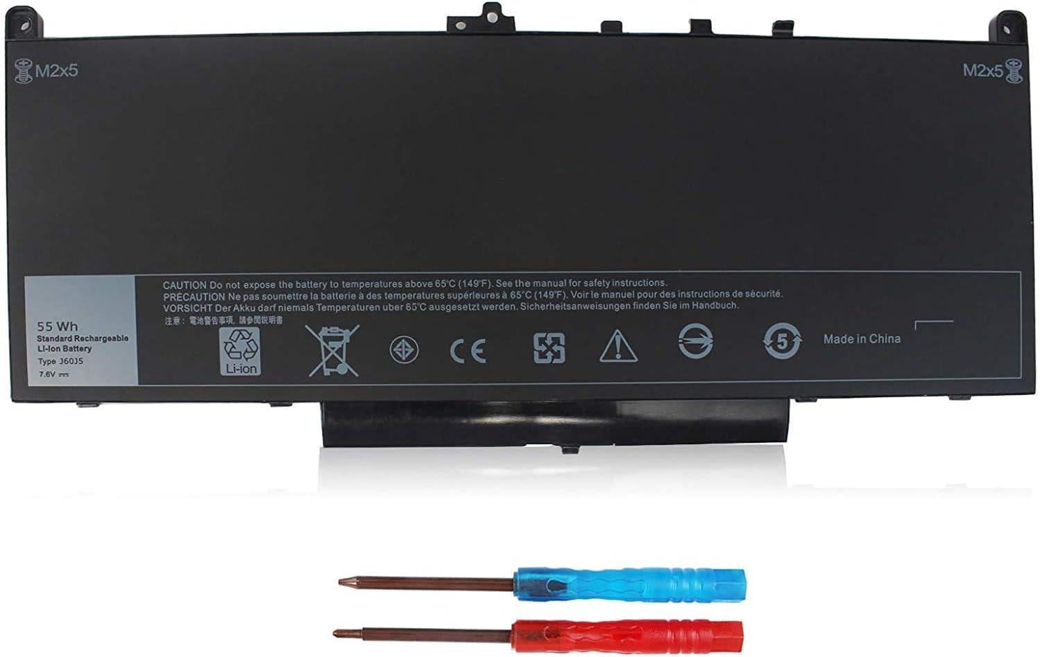 7470 7270 J60J5 Laptop Battery for Dell Latitude E7270 P26S001 E7470 P61G001 Series Notebook 01W2Y2 1W2Y2 MC34Y 242WD PDNM2 R1V85 GG4FM 0GG4FM WYWJ2 R97YT NJJ2H 451-BBSX 451-BBSY 451-BBSU 7.6V 55WH