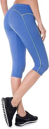 SYROKAN Women's Knee Tight Yoga Running Workout Sports Capri Leggings Pants Blue XS