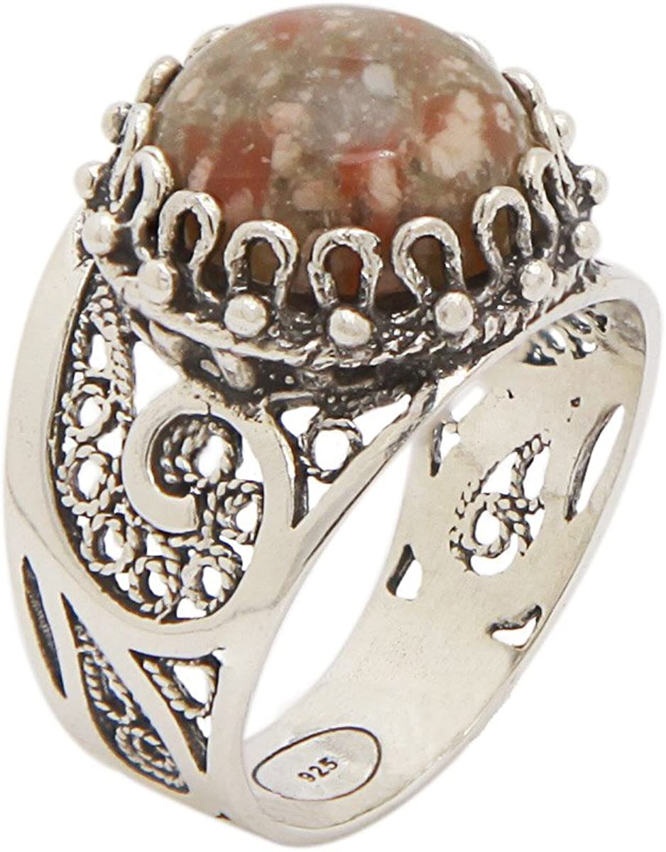 925 Sterling Silver Unakite Round Filigree Paisley Ring (Size 5-12)