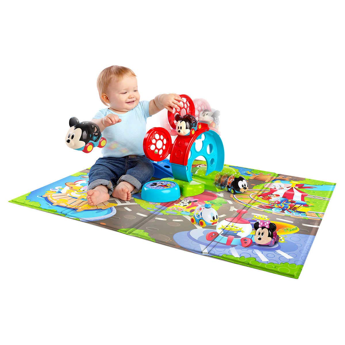 Mickey Friends Go Grippers Cars Oball Design Bounce Around Play Set Colorful Foam Mat, Perfect for Your Little One s Playtime Adventure , 2.1 lb