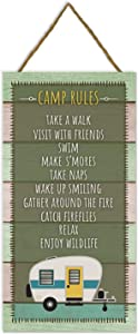 Camp Rules Rustic Wooden Plank Sign 5x10