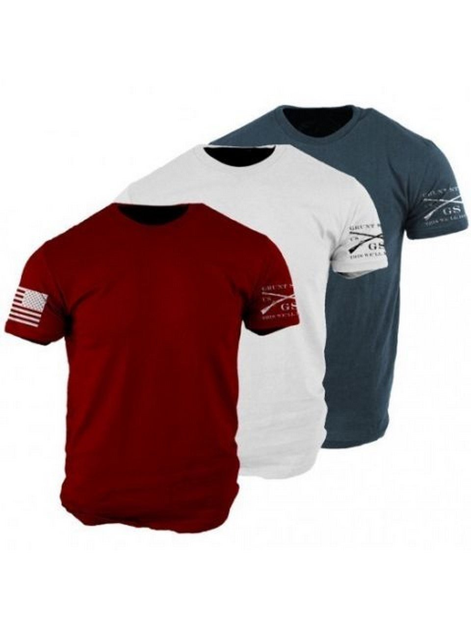 Grunt Style Patriot Pack 3-Pack Men's T-Shirts (Large)
