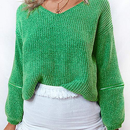 Tricot Manches Blouse Col Chic d'pissure V AIMEE7 Femme en Pull Top Vert Longues Lache Mode TBTSWEY