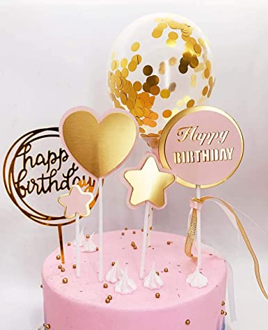 DeMissir - Juego de 6 decoraciones para tartas de cumpleaños ...