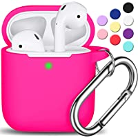 AirPods Case Cover with Keychain, Full Protective Silicone AirPods Accessories Skin Cover for Women Girl with Apple AirPods Wireless Charging Case,Front LED Visible-Rose Pink