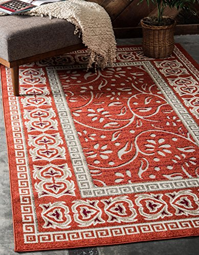 Red Transitional Area Rug - Unique Loom Lisbon Collection Casual Botanical Transitional Indoor and Outdoor Rust Red Area Rug (7' x 10')