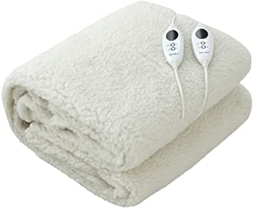 Dreamaker White Premium Washable Polyester Fleece Heated Electric Under Blanket - Fully Fitted with Overheat Protection (Double)