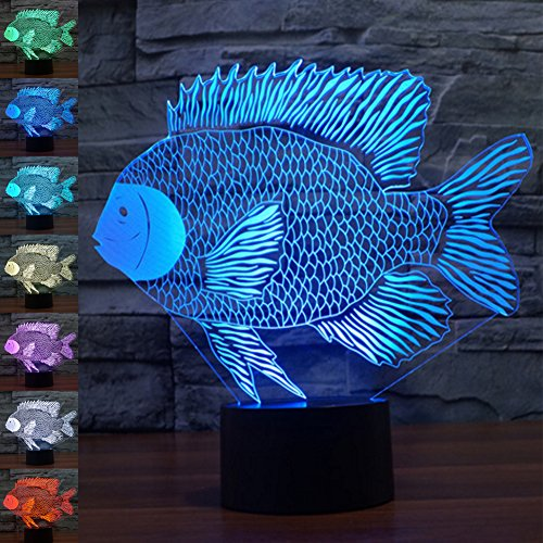 Fish 3D Illusion Lamp Night Light, Gawell 7 Color Changing Touch Switch Table Desk Decoration Lamps Christmas Gift with Acrylic Flat & ABS Base & USB Cable Toy for Fish Fans Lover