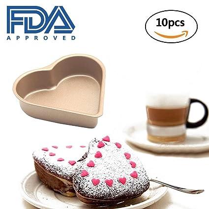 Kuke Mini magdalena de Chocolate molde antiadherente para horno Bake magdalenas Cupcake en forma de corazón