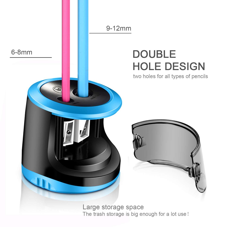 AOBETAK 2 Hole Elettronico Automatico Temperino con Grande Contenitore per Bambini Artist 2 Matita Colorata e No USB e Batteria Casa e Ufficio Temperamatite Elettrico