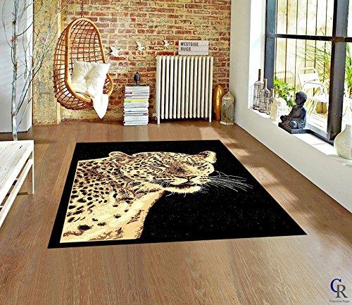 "Champion Rugs Modern Safari Leopard Cheetah Head Animal Print Carpet Novelty Area Rug (5' 3"" x 7' 5"")"