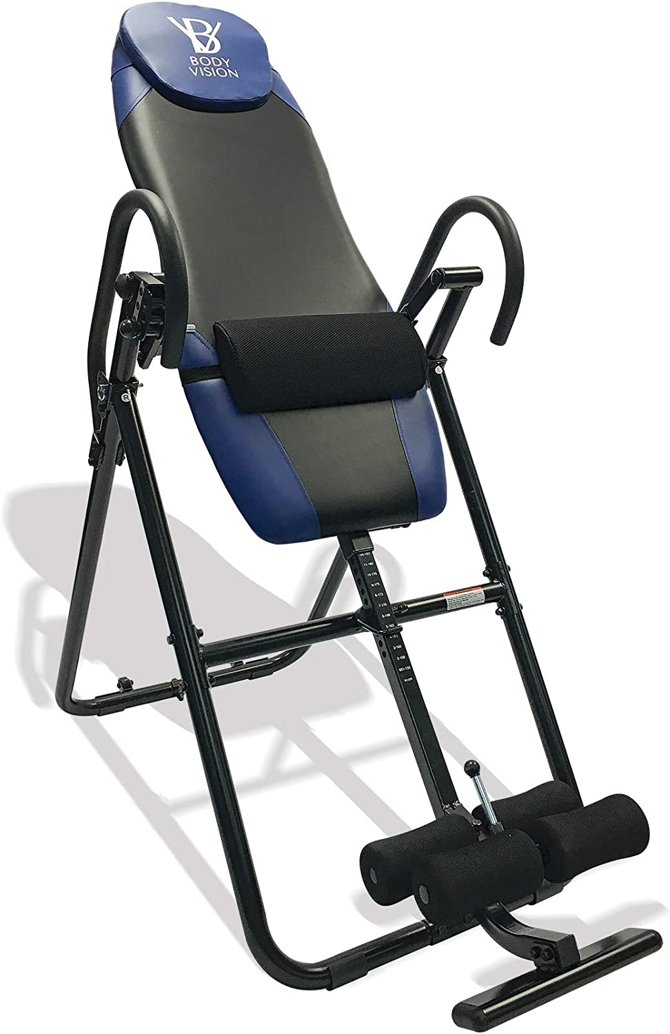 Body Vision IT9825 Premium Inversion Table with Adjustable Head Pillow Lumbar Support Pad, Blue – Heavy Duty up to 250 lbs