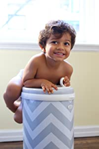 Image: Ubbi Steel Diaper Pail | Powder coated steel and rubber seals to lock odors in | Childproof safety lock