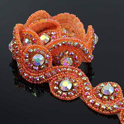 - Orange Crystal Rhinestone Trim Gleaming Ribbon Applique Bridal Beaded Applique ,1 Yard