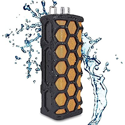 Keedox? Outdoor Sports Waterproof Shockproof Portable Wireless Bluetooth Speaker,Hands-free calls,Rechargeable, AUX Input, good for Iphone/Ipod/Android Smart Phone/Laptop/Tablet/Other Audio Devices (Black+Orange)