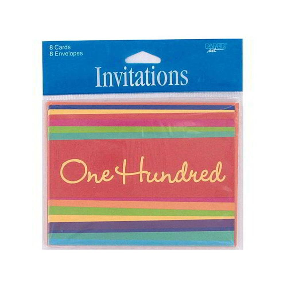 Bulk Buys 100 Hundred Striped Birthday Party Invitations Greeting ...