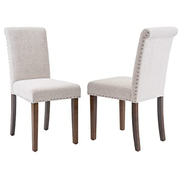Merax Stylish Dining Chairs with Nailhead Detail and Solid Wood Legs, Set  of 2 (