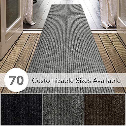 iCustomRug Spartan Weather Warrior Duty Indoor/Outdoor Utility Ribbed in 3ft,4ft,6ft Widths 70 Custom Sizes with Natural Non-Slip Rubber Backing 3' x 9' in Grey from iCustomRug