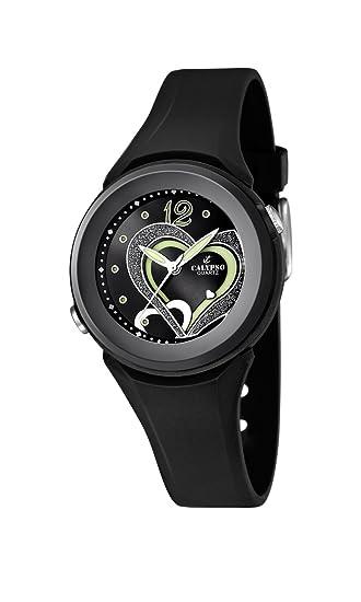 Calypso watches K5576/6 - Reloj analógico de cuarzo para niña, correa de goma color negro: Amazon.es: Relojes