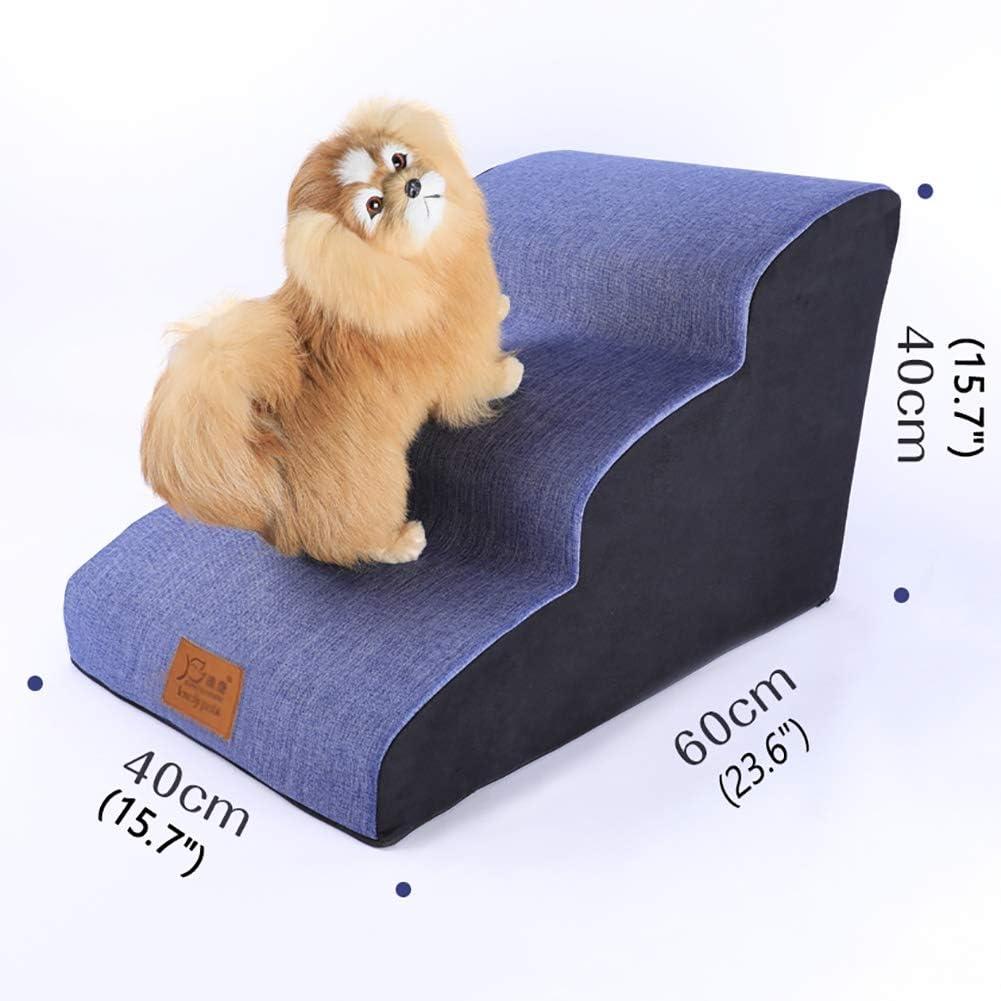 Escalera de Mascota Azul Rampa de escaleras para Perros pequeños para sofá Alto, Perros Mayores, Pasos Interiores para Perritos de Dormitorio Interior, Funda Lavable: Amazon.es: Hogar