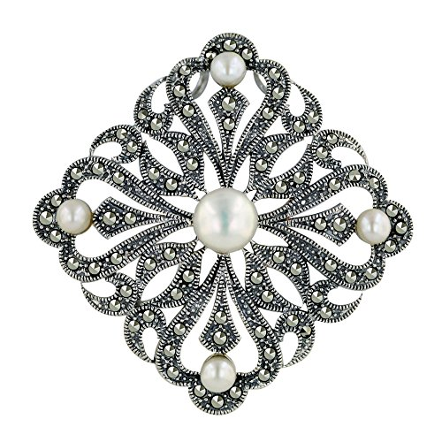 .925 Sterling Silver Marcasite Jewelry Necklace Freshwater Pearl Filigree Pendant/Pin 30 inches