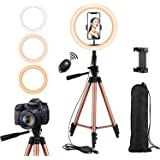 Rimposky 26cm Selfie Ring Light with 127cm Extendable Tripod Stand & Flexible Phone Holder for YouTube/Live Stream,Mini Led Camera Ring Light for Vlog/Video/Photography Compatible with iPhone/Android