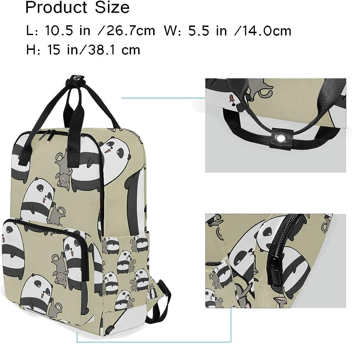 Cute Panda Casual Travel Daypack School Backpack for Women Large Diaper Bag Rucksack Bookbag for College Fits 14inch Laptop Backpack
