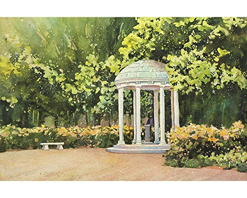 Watercolor batik painting of Old Well on University of North