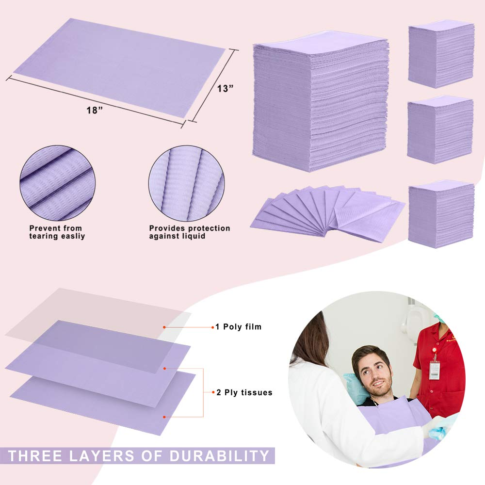 """(Pack of 500) Dental Bib 13"""" X 18"""" 3 Ply Purple Premium Disposable Waterproof Patient Bibs /2 Ply Tissue + 1 Ply Poly/Polyback Sheet; Waterproof Tattoo Bibs, Tattoo Tray Covers and Dental Napkins by JJ CARE (Image #6)"""