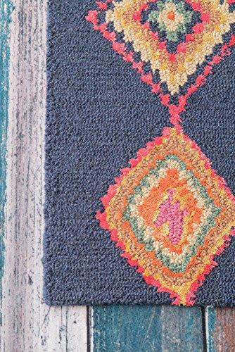 """nuLOOM 200MJSM18B-2608 Belini Hand Tufted Wool Runner Rug, 2' 6"""" x 8', Navy"""